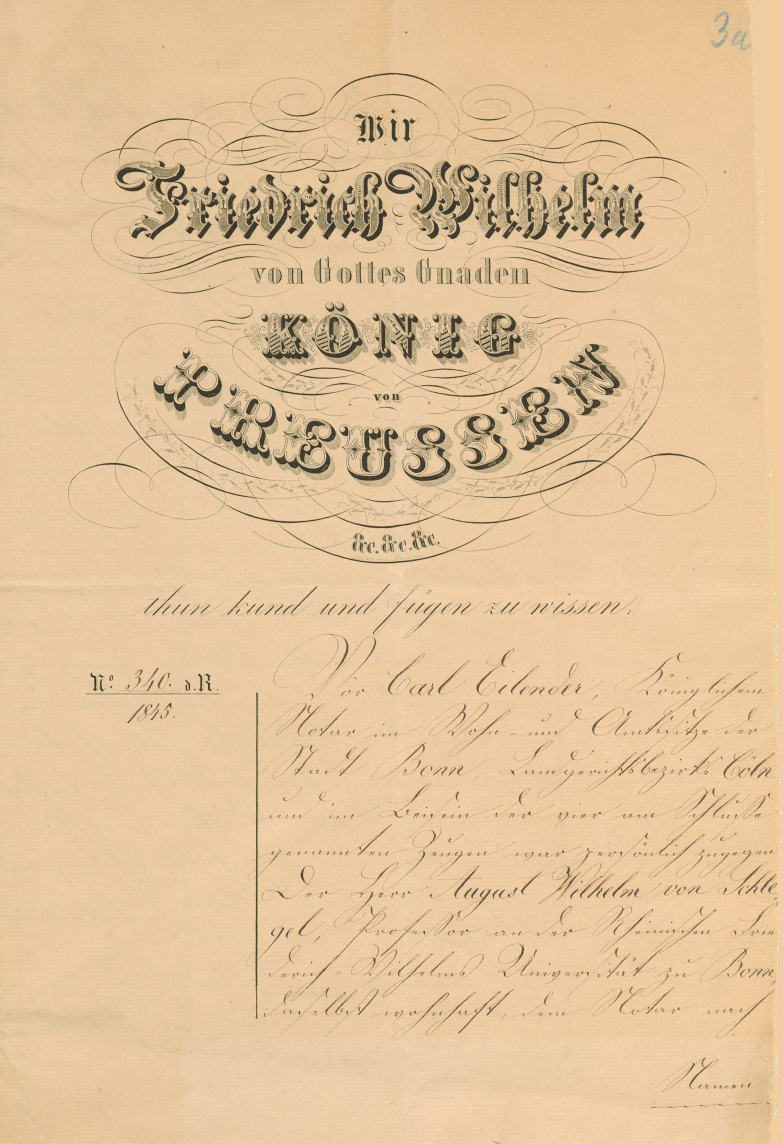 August Wilhelm von Schlegel's will (27th March 1845)